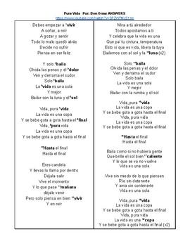 SONG Pura Vida Spanish Cloze Activity