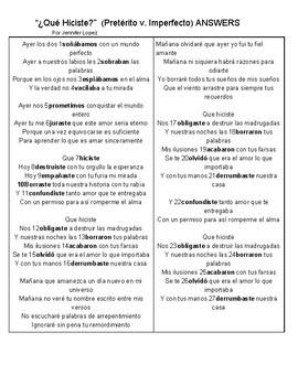 SONG Qué Hiciste Spanish Cloze Activity Pretérito v. Imperfecto