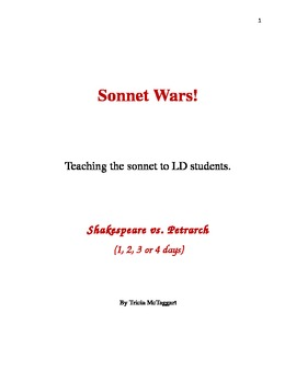 SONNET WARS!  For LD students.  Shakespeare vs. Petrarch