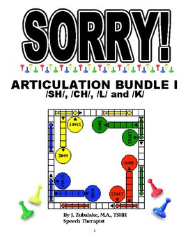 SPEECH THERAPY SORRY! ARTICULATION Game Cards BUNDLE I for
