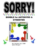 SPEECH THERAPY SORRY Game Cards BUNDLE for ANTONYMS & SYNONYMS