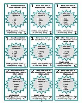 SPEECH THERAPY SORRY! Game Cards for Antonyms