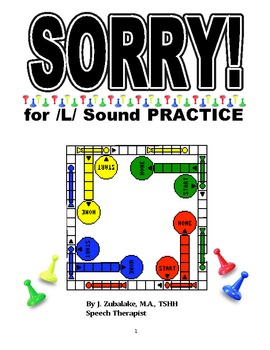 SPEECH THERAPY SORRY! Game Cards for /L/ SOUND PRACTICE