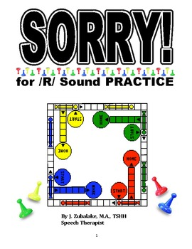 SPEECH THERAPY SORRY! Game Cards for /R/ SOUND PRACTICE