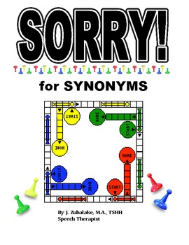 SPEECH THERAPY SORRY! Game Cards for SYNONYMS