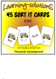 CVC - PHONEMIC DEVELOPMENT - 45 SORT IT CARDS + Game + Posters