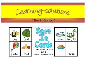SORT IT CARDS - Set 3A - Long Vowels - Phonemic discrimination-Spelling patterns