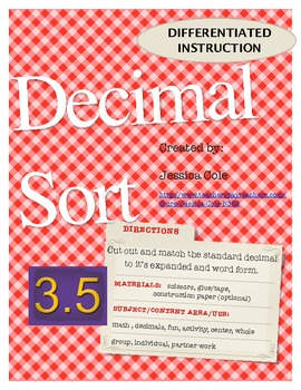 SORT IT OUT! DECIMALS (differentiated instruction)