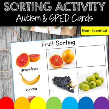 SORTING FRUITS for Autism, Speech Therapy, Sorting Non Identicals, Special Ed