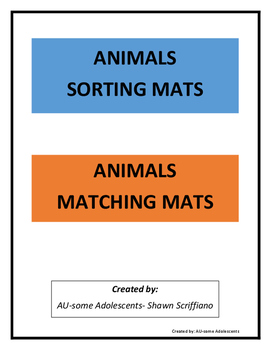 SORTING and MATCHING MATS- Animals