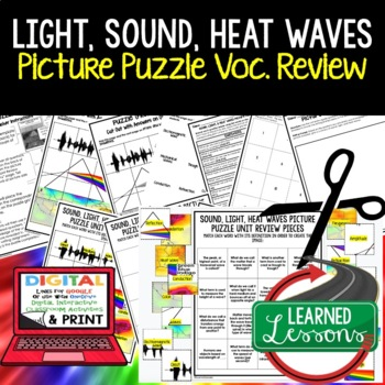 SOUND, LIGHT, HEAT WAVES Picture Puzzle Study Guide Test Prep