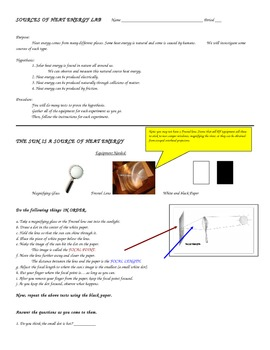 SOURCES OF HEAT ENERGY LAB