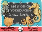 SOUS L'OCÉAN - Mots de vocabulaire /24 affiches (script et