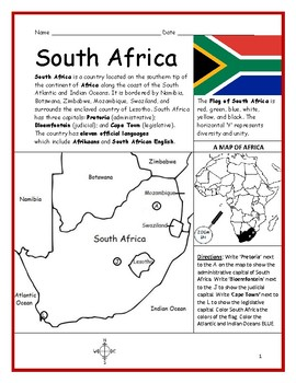 SOUTH AFRICA - Printable handout with map and flag