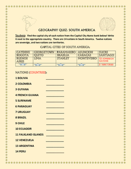 GEOGRAPHY QUIZ: CAPITALS OF SOUTH AMERICA