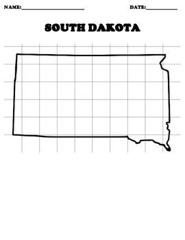 SOUTH DAKOTA Coordinate Grid Map Blank