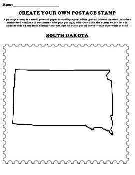 SOUTH DAKOTA Create your Own Postage Stamp Worksheet
