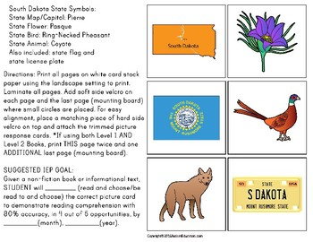 SOUTH DAKOTA State Symbols ADAPTED BOOK for Special Education and Autism