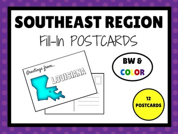 SOUTHEAST REGION STATES Fill In POSTCARDS (BW & COLOR)