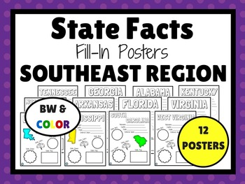 SOUTHEAST STATES Fill-In Poster Set (12 states)