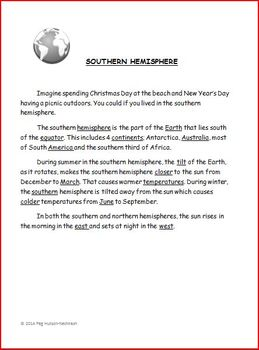 SOUTHERN HEMISPHERE WRITING FRAME: FREEBIE