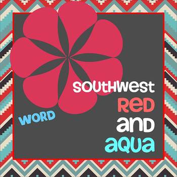 SOUTHWEST AQUA and RED theme - Newsletter Template WORD