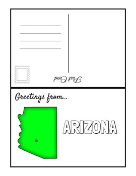 SOUTHWEST REGION STATES Fill In POSTCARDS (BW & COLOR)