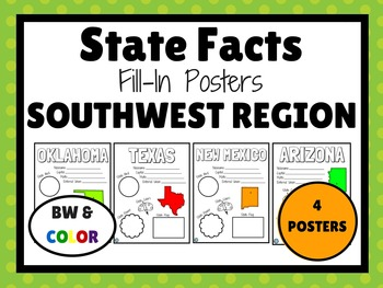 SOUTHWEST STATES Fill-In Poster Set (4 states)