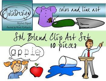 SP Blend Phonics Clip Art Set - Color and Line Art 10 pc set