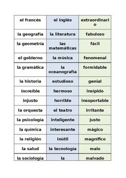 SP VOCABULOSO School subjects