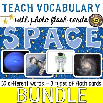 Space Vocabulary Words 3 Types of Photo Flash Cards BUNDLE