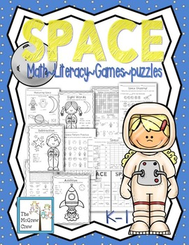 SPACE Activity Pack Set K-1 Math Literacy Games Puzzles Centers Writing