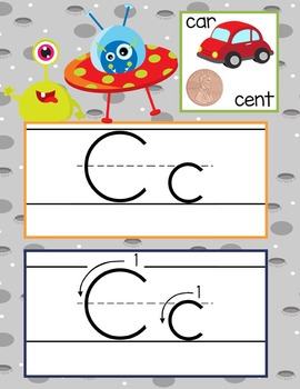 SPACE - Alphabet Cards, Handwriting, ABC Flash Cards, ABC print with pictures