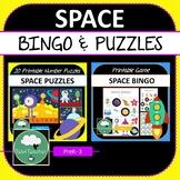 SPACE Bingo & Number Puzzles BUNDLE - Basic Maths Fun for Kindergarten - Year 3