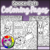 SPACE CATS Coloring Pages, Zen Doodles