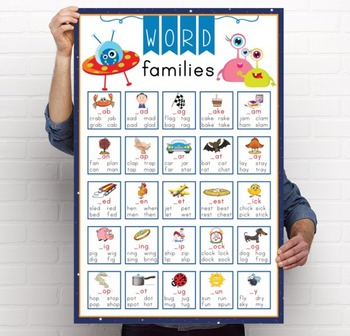 SPACE - Classroom Decor: Language Arts, Word Families POSTER - size 24 x 36