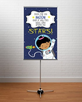 SPACE - Classroom Decor: MEDIUM BANNER, Shoot for the Stars, GIRL