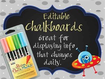 SPACE - Classroom Decor: editable chalkboard  POSTERS / Bi