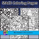 SPACE Coloring Pages, Zen Doodles