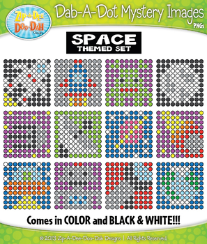 SPACE Dab-A-Dot Mystery Images Clipart {Zip-A-Dee-Doo-Dah Designs}