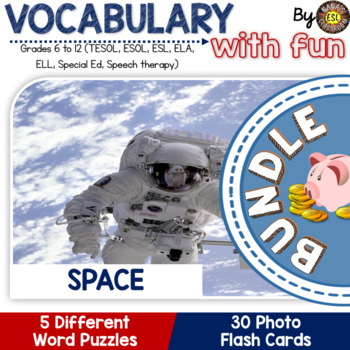 Space Vocabulary Words: 30 Flash Cards and 5 Word Puzzles