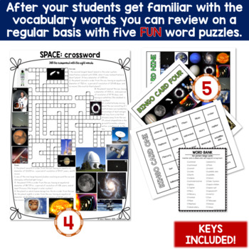 Space 5 Word Puzzles and 30 Photo Flash Cards BUNDLE for ESL/ELL teens
