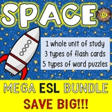 Space Unit, Vocabulary Cards and Word Puzzles Mega ESL Bundle