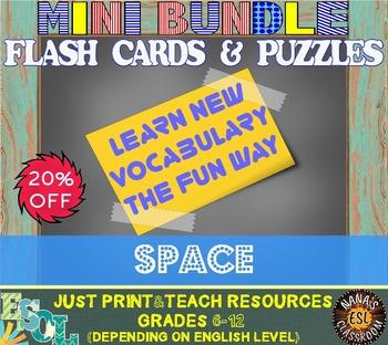 SPACE (ESL): MINI BUNDLE (flash cards and vocabulary puzzles)