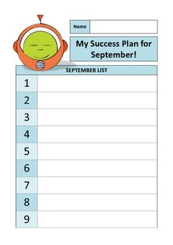 SPACE KIDS and ROBOT  ( Success Plan for September sheets )