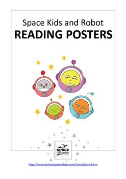 SPACE KIDS and ROBOT  ( reading posters )