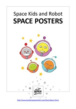 SPACE KIDS and ROBOT  ( space posters )