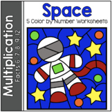 SPACE MATH Color by Number MULTIPLICATION REVIEW Facts 6,
