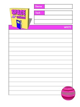 SPACE SCHOOL pink writing paper