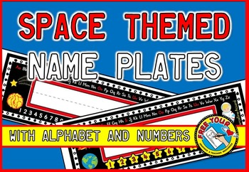 SPACE THEMED NAME PLATES WITH ALPHABET AND NUMBERS 1-10